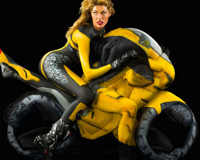Sports Motor And Beautiful Model With Body Paint