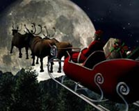 Reindeer And Santa Claus Distributed Gifts